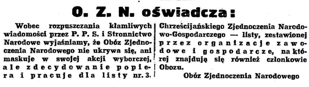 O. Z. N. oświadcza // Gazeta Gdańska. - 1939, nr 26, s. 7