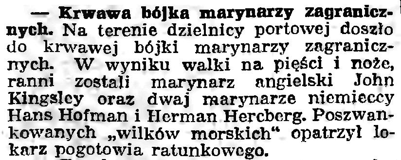 Krwawa bójka marynarzy zagranicznych // Gazeta Gdańska. - 1939, nr 41, s. 1