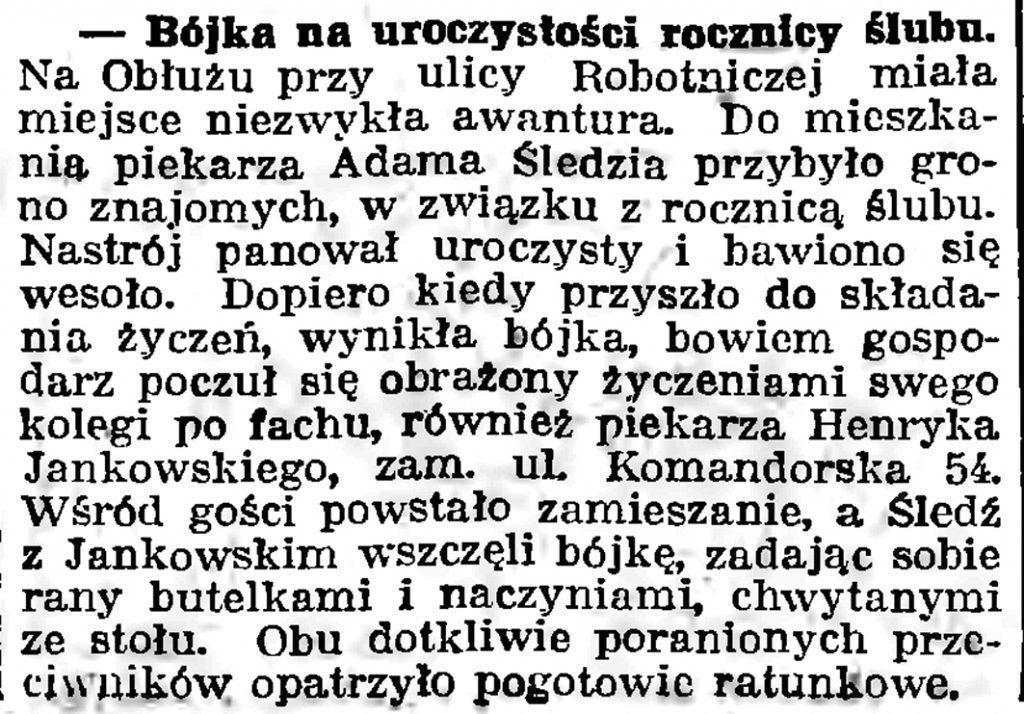 Bójka na uroczystości ślubu // Gazeta Gdańska. - 1939, nr 41, s. 11