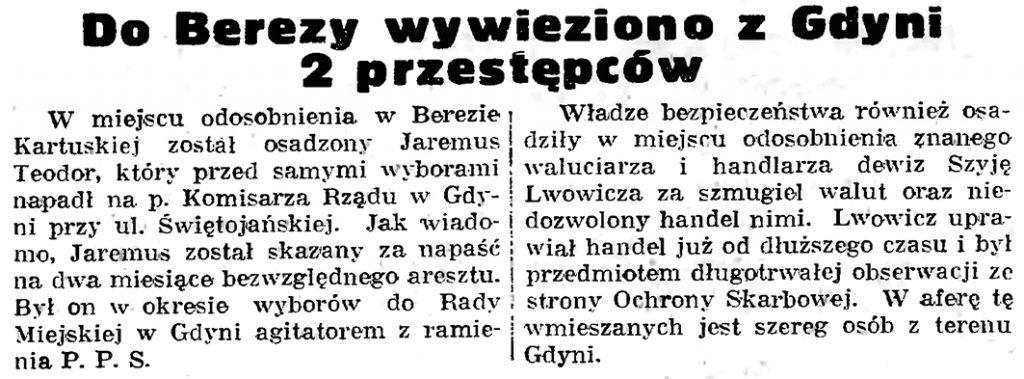 Do Berezy wywieziono z Gdyni 2 przestępców // Gazeta Gdańska. - 1939, nr 42, s. 6