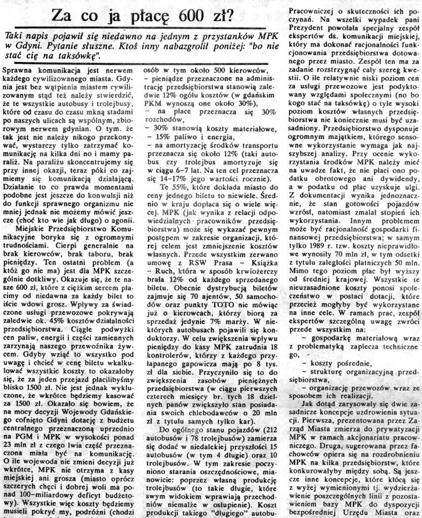 Za co ja płacę 600 zł? / Ireneusz Gzella // Gazeta Gdyńska. - 1990, nr 3, s. 2