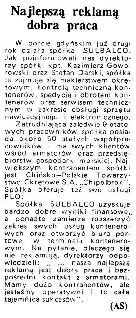 Najlepszą reklamą dobra praca / (AS) // Gazeta Gdyńska. - 1990, nr 3, s. 3