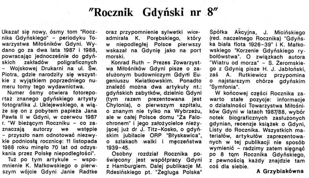"""""""Rocznik Gdyński nr 8"""" / A. Grzybiakówna // Gazeta Gdyńska. - 1990, nr 3, s. 5"""