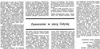Zanurzenie w Starą Gdynię