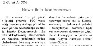 Nowa linia kontenerowa. Z Gdyni do USA / (as) // Gazeta Gdyńska. - 1990, nr 3, s. 8
