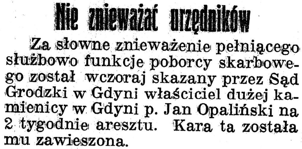 Nie znieważac urzędników // Gazeta Gdyńska 1939