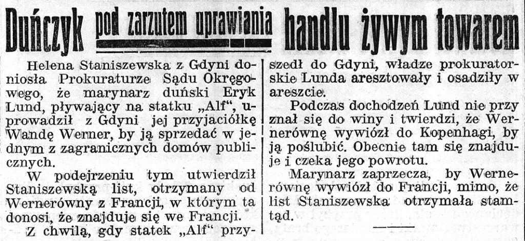 Duńczyk pod zarzutem uprawiania handlu żywym towarem // Gazeta Gdyńska, z dnia 17 lutego 1939 r.