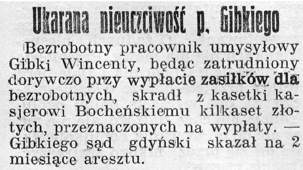 Ukarana nieuczciwość p. Gibkiego // Gazeta Gdyńska, z dnia 18 maja 1939  r.