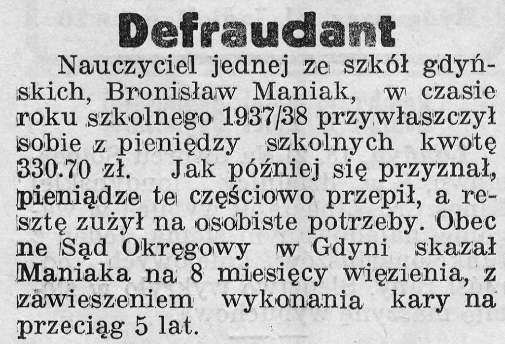 Defraudant // Gazeta Gdyńska, z dnia 19 lutego 1939 r.