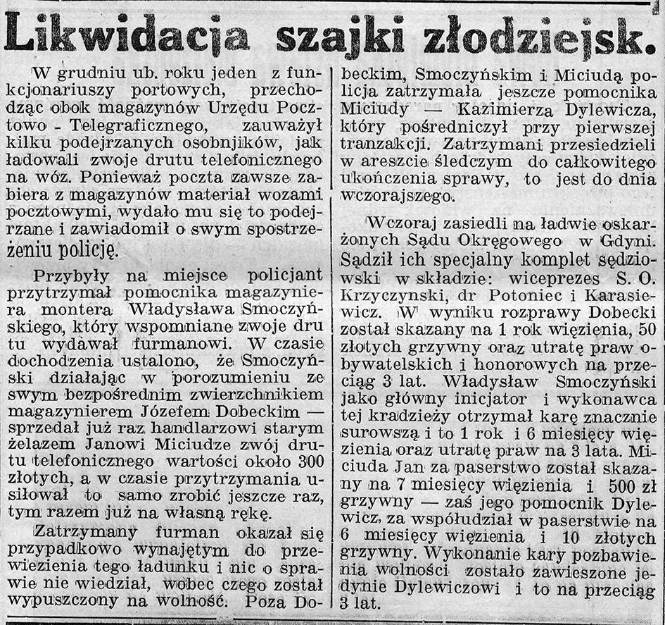 Likwidacja szajki złodziejskiej // Gazeta Gdyńska, z dnia 22 lutego 1939 r.