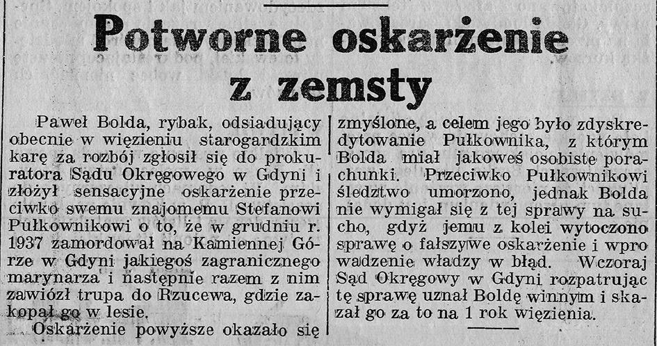 Potworne oskarżenie z zemsty // Gazeta Gdyńska, z dnia 7 maja 1939 r.