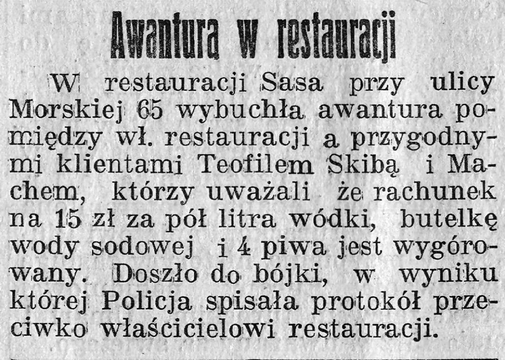Awantura w restauracji // Gazeta Gdyńska, z dnia 8 marca 1939 r.