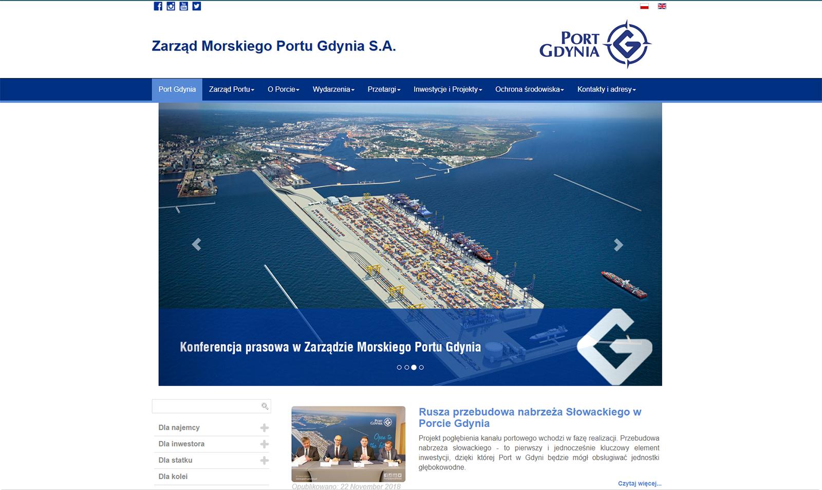 Strona internetowa Zarządu Morskiego Portu Gdynia S.A.