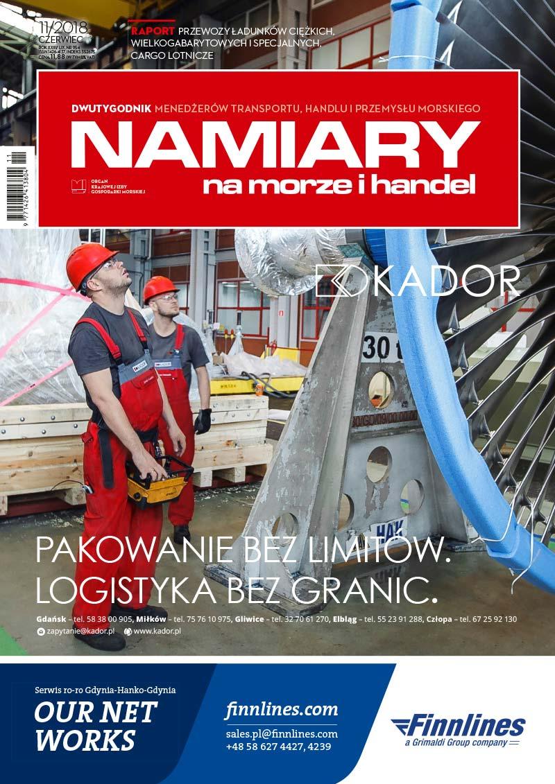 Namiary na morze i handel: dwutygodnik menedżerów transportu, handlu i przemysłu morskiego 2018, nr 11 (czerwiec)