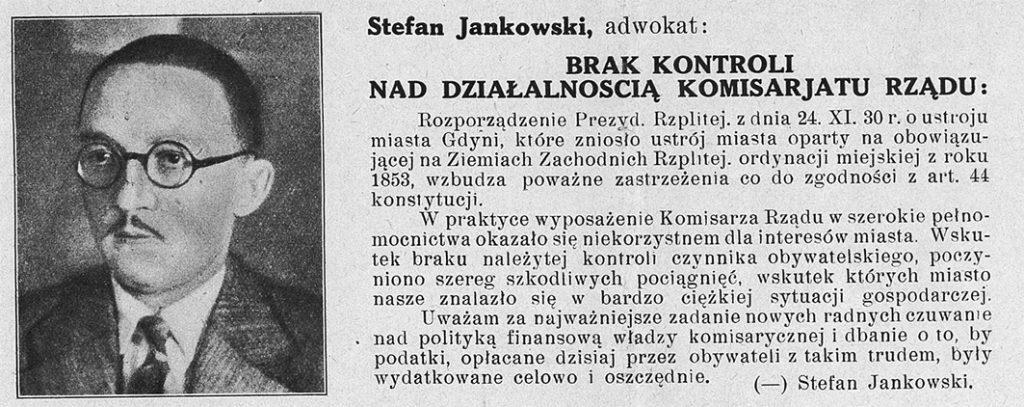 Janakowski Stefan Narodowy Blok Gospodarczy postawił sobie za zadanie reprezentować niezależną opinję wszystkich narodowo i katolicko myślących warstw obywatelstwa gdyńskiego, bez różnic klasowych. Przeto wzywamy Was, Obywatele i obywatelki: dnia 5 marca 1933 roku głosujcie na listę nr. 5, której kandydaci sami do Was przemawiają // [Plakat wyborczy]
