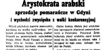 Arystokrata arabski sprzedaje pomarańcze w Gdyni i wychodzi zwycięsko z walki konkurencyjnej // Dzień Dobry. - 1938, nr 12, s. 3