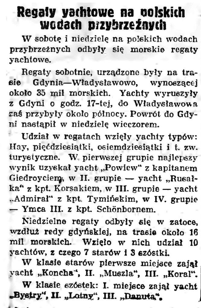 Regaty yachtowe na polskich wodach przybrzeżnych // Gazeta Gdańska. - 1938, nr 140, s. 8
