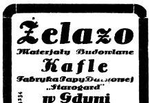 """Żelazo Materjały Budowlane Kafle Fabryka Papy Dachowej """"Starogard"""" w Gdyni ulica 10 Lutego nr. 11"""