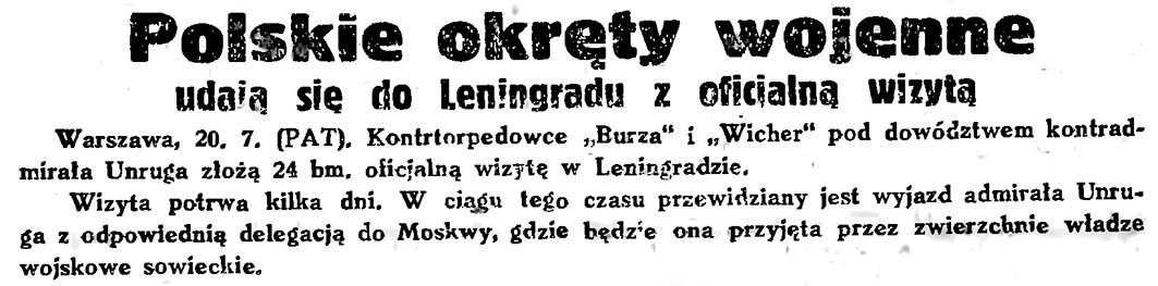 Polskie okręty wojenne udają się do Leningradu z oficjalną wizytą // Gazeta Gdańska. - 1934, nr 161, s. 2