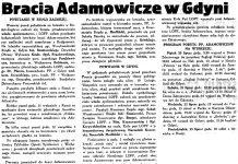 Bracia Adamowicze w Gdyni // Gazeta Gdańska. - 1934, nr 161, s. 6