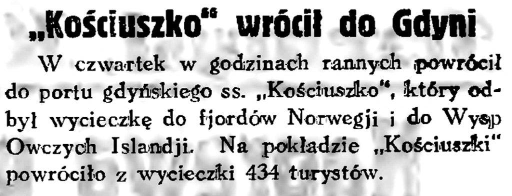 """Kościuszko"" wrócił do Gdyni // Gazeta Gdańska. - 1934, nr 161, s. 6"