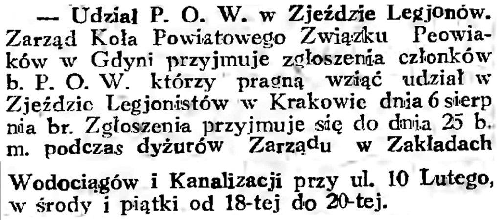 Udział P. O. W. w Zjeździe Legjonistów // Gazeta Gdańska. - 1934, nr 161, s. 6