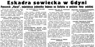 """Eskadra sowiecka w Gdyni. Pancernik """"Marat"""", największa jednostka bojowa na Bałtyku w gościnie floty polskiej // Gazeta Gdańska. - 1934, nr 199, s. 2"""