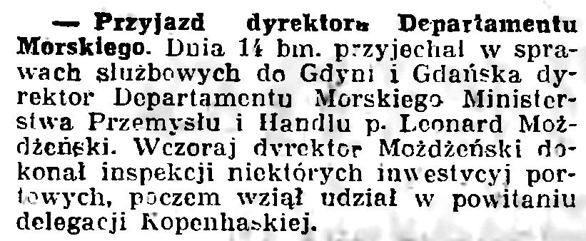 Przyjazd dyrektora Departamentu Morskiego // Gazeta Gdańska. - 1936, nr 237, s. 14