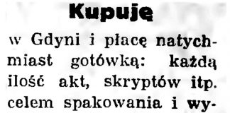 Kupuję w Gdyni i płacę natychmiast ... // Gazeta Gdańska. - 1936, nr 237, s. 20