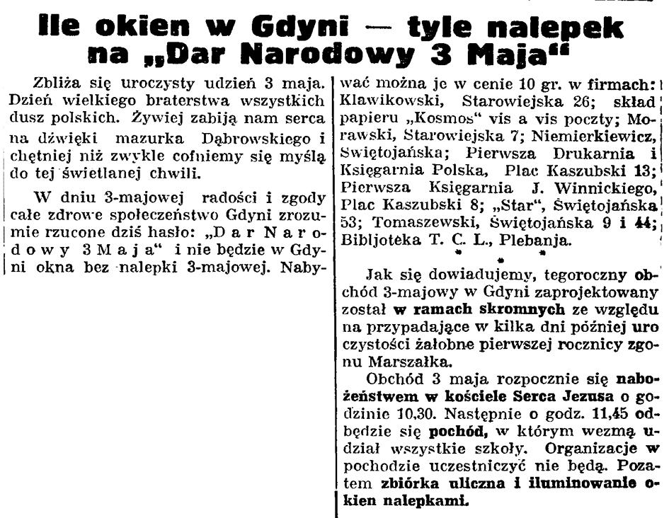 """Ile okien w Gdyni - tyle nalepek na """"Dar Narodowy 3 Maja"""" // Gazeta Gdańska. - 1936, nr 98, s. 8"""