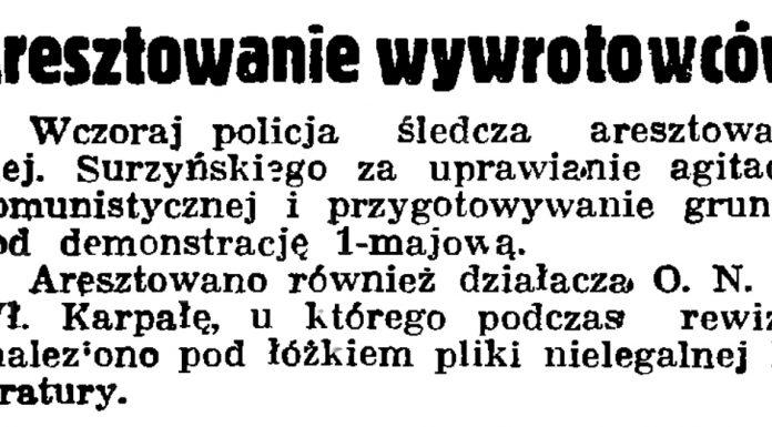Aresztowanie wywrotowców // Gazeta Gdańska. - 1936, nr 98, s. 8