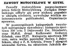 Zawody motocyklowe w Gdyni // Gazeta Gdańska. - 1936, nr 98, s. 8