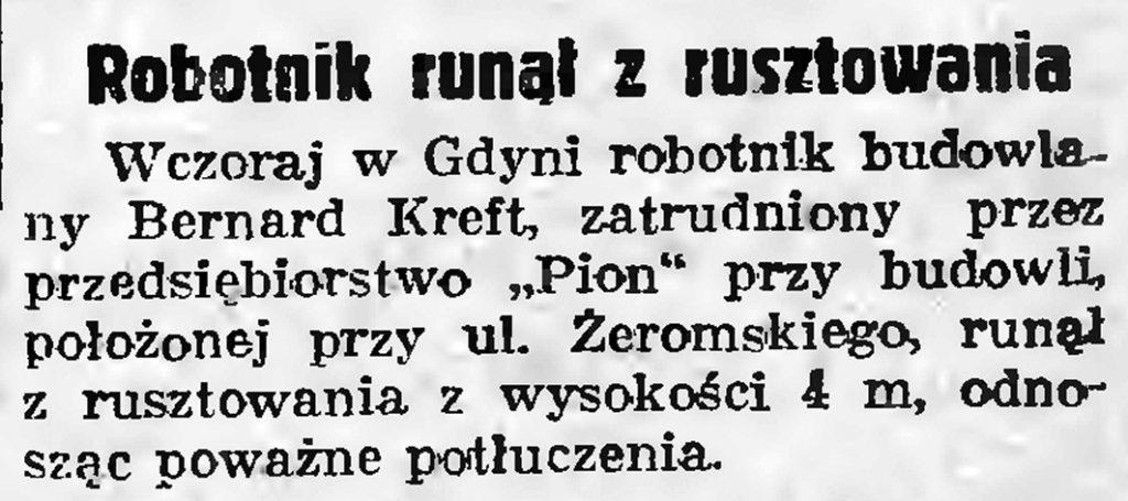 Robotnik runął z rusztowania // Gazeta Gdańska. - 1937, nr 298, s. 2