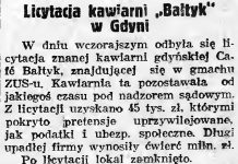 Likwidacja kawiarni Bałtyk // Gazeta Gdańska. - 1937, nr 298, s. 2