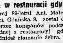 Bójka w restauracji gdyńskiej // Gazeta Gdańska. - 1937, nr 298, s. 2