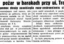 Groźny pożar w barakach przy ul. Traugutta. Szybka pomoc straży zapobiegła rozprzestrzenieniu się ognia // Gazeta Gdańska. - 1938, nr 121, s. 8