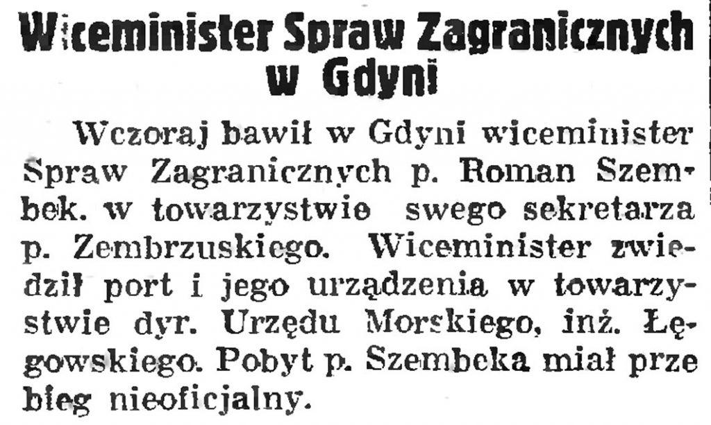 Wiceminister Spraw Zagranicznych w  Gdyni // Gazeta Gdańska. 1038, nr 140, s. 21938, nr 121, s. 8