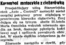 Karambol motocykla z ciężarówką // Gazeta Gdańska. - 1938, nr 140, s. 8