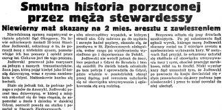 Smutna historia porzuconej przez męża stewardesy. Niewierny mąż skazany na 2 mies. aresztu z zawieszeniem // Gazeta Gdańska. - 1938, nr 142, s. 4