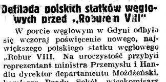 """Defilada polskich statków weglowych przed """"Roburem VII"""" // Gazeta gdańska. - 1938, nr 150, s. 1"""