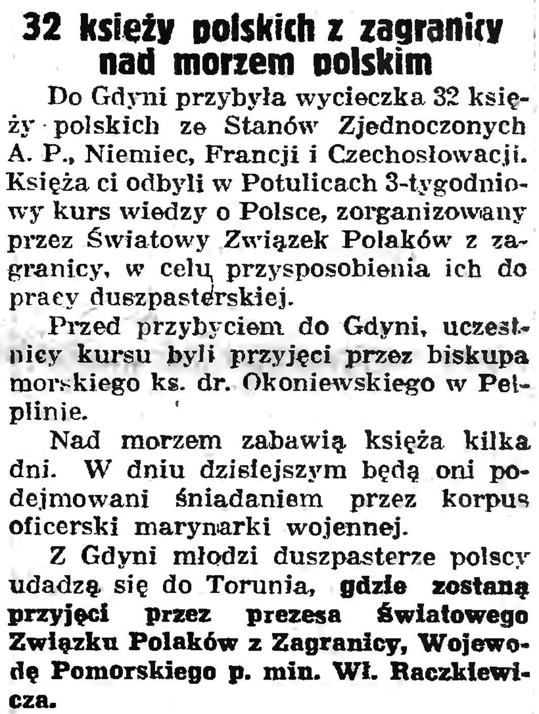 32 księży polskich z zagranicy nad polskim morzem // Gazeta Gdańska. - 1938, nr 191, s. 1