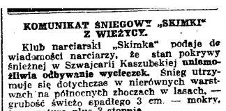 """Komunikat śniegowy """"SKIMKI"""" z Wieżycy // Gazeta Gdańska. - 1938, nr 24, s. 11"""