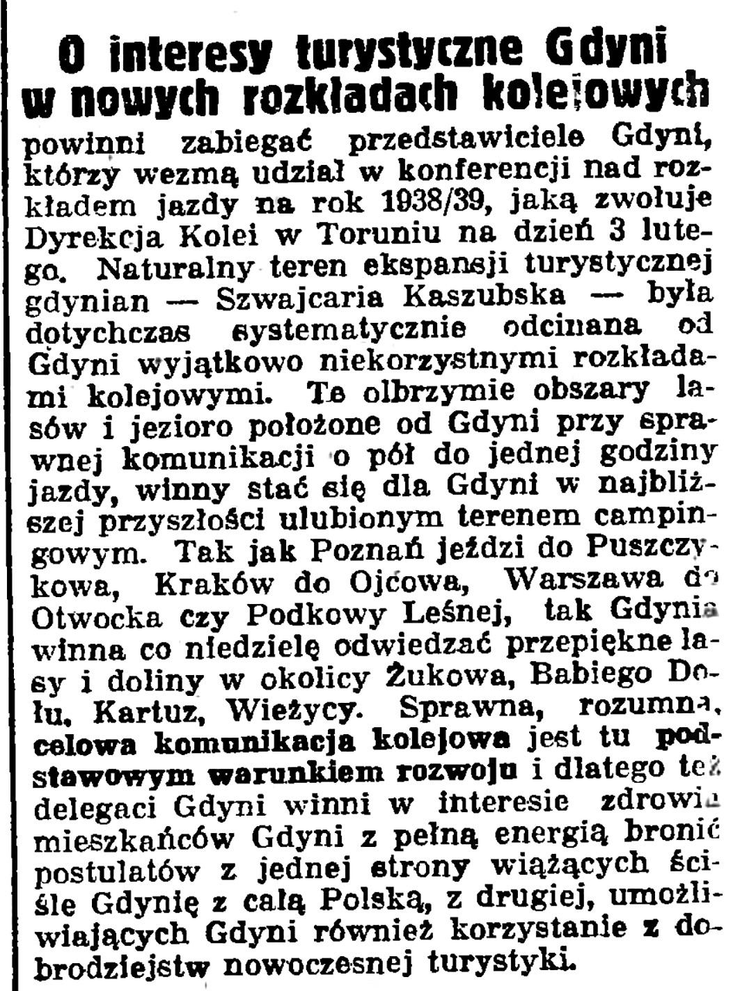 O interesy turystyczne Gdyni w nowych rozkładach kolejowych // Gazeta Gdańska. - 1938, nr 24, s. 11