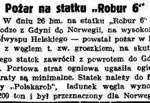 """Pożar na statku """"Robur 6"""" // Gazeta Gdańska. - 1938, nr 24, s. 11"""