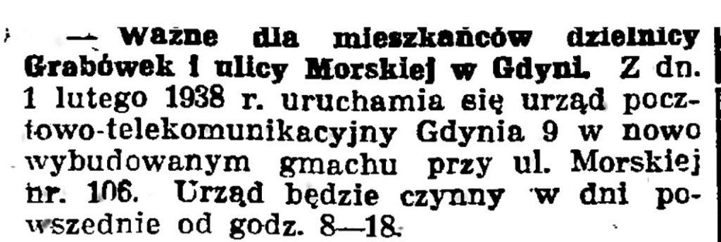 Ważne dla mieszkańców dzielnicy Grabówek i ulicy morskiej w Gdyni // Gazeta Gdańska. - 1938, nr 24, s. 11