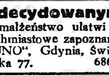 """Zdecydowanym na małżeństwo ułatwi natychmiastowe zapoznanie """"RUNO"""", Gdynia, Świętojańska 77"""