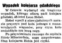 Wypadek kolejarza gdańskiego // Gazeta Gdańska. - 1938, nr 255, s. 6