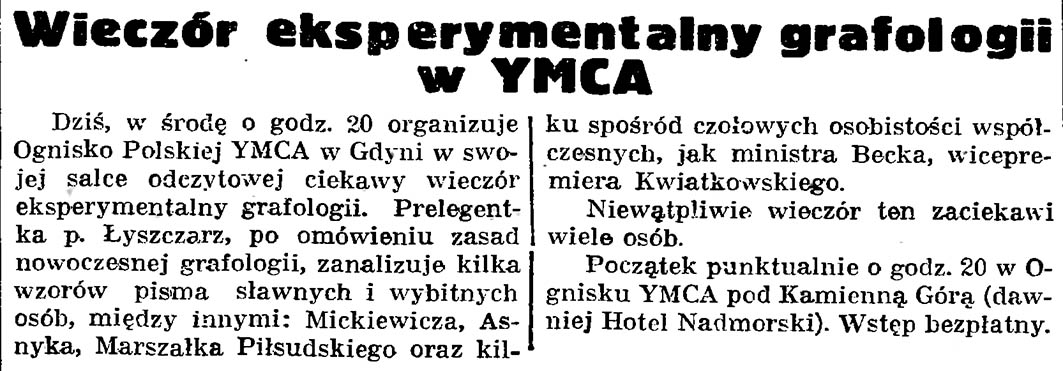 Wieczór eksperymentalny grafologii w YMCA // Gazeta Gdańska. - 1938, nr 256, s. 7