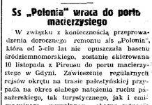 """Ss """"Polonia"""" wraca do portu macierzystego // Gazeta Gdańska. - 1938, nr 257, s. 7"""