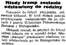 Młody tramp zostanie odstawiony do rodziny // Gazeta Gdańska. - 1939, nr 20, s. 7